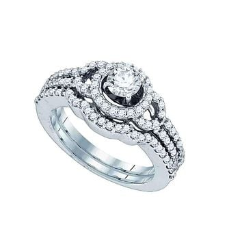 14kt White Gold Women's Round Diamond Halo Bridal Wedding Engagement Ring Band Set 1.00 Cttw - FREE Shipping (US/CAN)