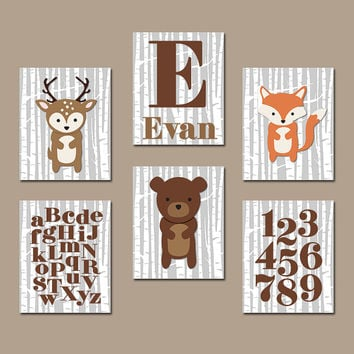 Boy WOODLAND Wall Art Boy Nursery Artwork Birch Wood Forest Animal Deer Squirrel OWL Raccoon FOX Custom Monogram Initial Name Set of 6
