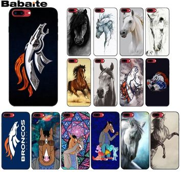 The Denver Broncos andalusian horse TPU Soft Silicone Black Phone Case for iPhone 8 7 6 6S Plus X XS MAX 5 5S SE XR Mobile Cover