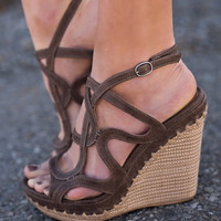 On The Sea Strappy Platform Wedges (Taupe)