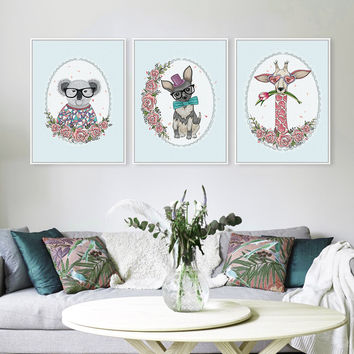Triptych Kawaii Animals Flower Giraffe Dog Koala Rural Cottage Art Print Poster Wall Picture Canvas No Frame Living Room Decor
