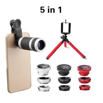 5in1 Flexible Tripod with 8X Camera Phone Telescope Lens 3in1 Clip Camera Lens Kit Fisheye 0.67 Wide Macro lens for cell phone