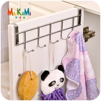 MAIKAMI Stainless Steel Bathroom Kitchen Organizer Hanger Hooks With 5-Hook Towel Hat Coat Clothes Cabinet Draw Door Wall Hooks