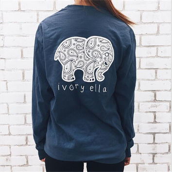 6 Color New 2016 Summer Ivory Ella T-shirt Women Tops Tee Print Animal Elephant T Shirt Loose Full Long Sleeve Tops