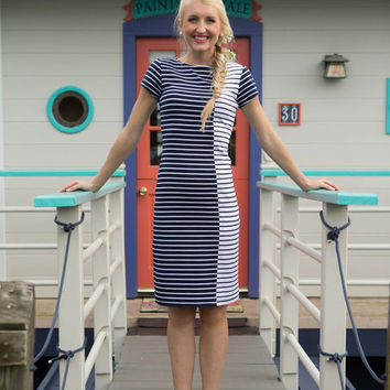 Marina Fitted Stripe Dress Navy/White