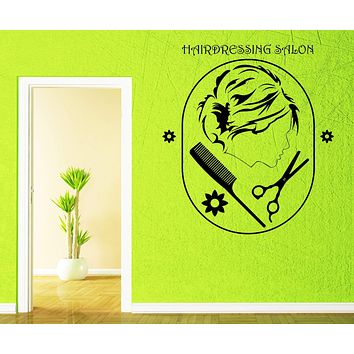 Large Wall Vinyl Decal Hairdressing Salon Sign Beauty Hair Interior Decor (n837)