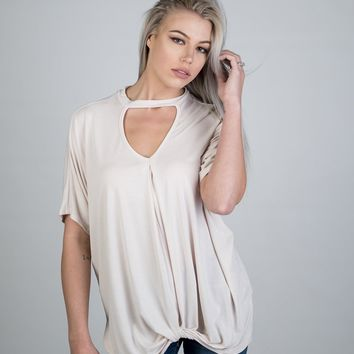 Cream Cut Out Neck Twisted Knot Top