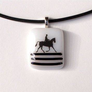 Dressage Horse Black and White Fused Glass by GreenhouseGlassworks