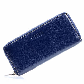 Long Wallet Women Blue Real Genuine Leather Wallets and Purses Checkbook Credit Card Holder Coins Zipper Pocket Handbag Carteras