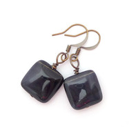 Blue Tiger's Eye Antiqued Gold Plated Brass Square Geometric Beaded Gemstone Earrings Fall Fashion Jewelry