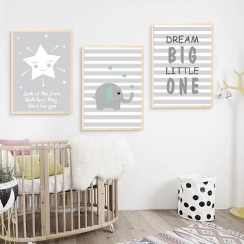 Baby Nursery Wall Art Canvas Painting Cartoon Elephant Poster Quotes Print Nordic Style Kid Decoration Picture Living Room Decor