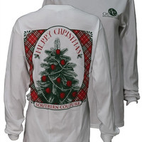 Southern Couture Classic Vintage Christmas Tree White Long Sleeve T Shirt