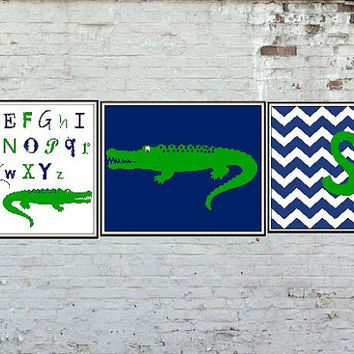 Alligator 8x10 Art Print Trio Nursery Bedroom Decoration Customizable