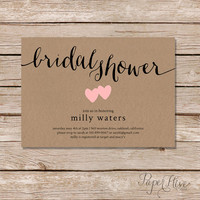Rustic Bridal Shower Invitation / Kraft paper bridal shower invitation / calligraphy bridal shower invitation