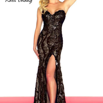Kari Chang YN1461 Black Lace and Sequin Prom Dress