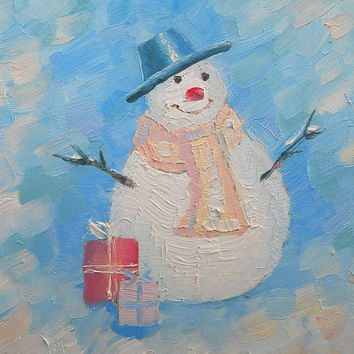 Handmade unique christmas greeting cards. Small oil painting. Original abstract winter landscape, snowman, hardboard or canvas, winter paint