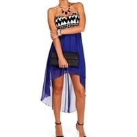 Royal Seqin Colorblock Hi Lo Dress