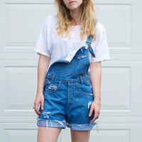 Vintage Distressed Denim Overalls - S