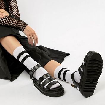 Dr Martens Blaire Leather Strappy Flat Sandals in Black at asos.com