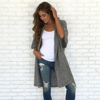 Long Integrity Knit Cardigan In Grey