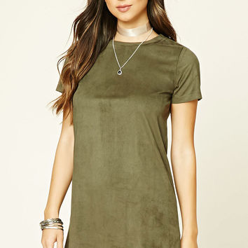Faux Suede Mini T-Shirt Dress