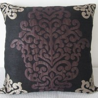 Damask Purple Silver and Black Designer fabric by miaandstitch