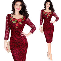 Vfemage Women Fall elegant embroidery see through lace evening party dress for a special occasion