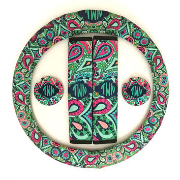 Custom Monogrammed Steering Wheel Cover Seat Belt Covers License Plate Car Tag Cup Holder Coasters Lilly Pulitzer Inspired Paisley Jewels