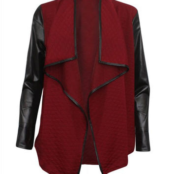 Turn-Down Collar Quilted Long Sleeves PU Leather Jacket