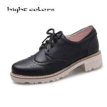 2018 Spring Air Casual Round Toe Lace Up Vintage Brogue Cut-out Ankle Lady Shoes Women Oxfords Flats Plus Size 34 43