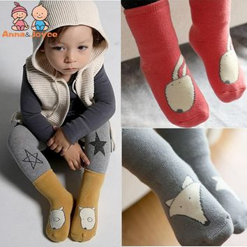 3pairs/lot 2-4years Toddler Knee High Socks Baby Boy Girl Socks Cotton Cute Cartoon Animal Warmers