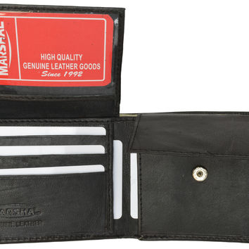 Genuine Lambskin Soft Leather Bifold Credit Card Wallet with Coin Pouch 59 (C)