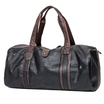 Sports Men's Large Capacity PU Leather Duffel Tote Shoulder Handbag Travel Gym Bag