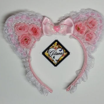 SPRING SALE-Lolita Headband- Lolita Accessories- Lolita- Nekomimi- Cat ears- Cat Headband- Lolita Cat Headband-Pink-Fairy kei