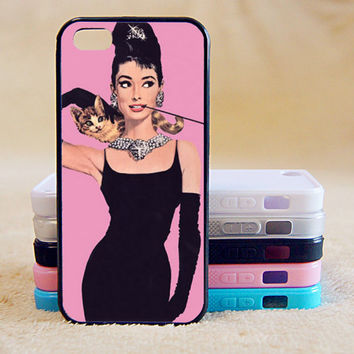 Audrey Hepburn,Cat,Pink, iPhone 4/4s/5/5s/5C, Samsung Galaxy S2/S3/S4/S5/Note 2/3, Htc One S/M7/M8, Moto G/X