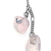 Moondrop Adjustable Lariat Necklace (Rose Quartz)