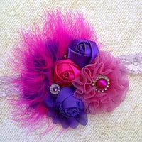 Baby Girls Big Fancy Flower Birthday Headband,Hot Pink Purple Feather Hair Bow Clip,Newborn Photo Prop