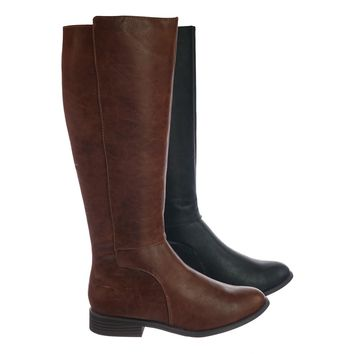 Kauri Knee High Fashion Equestrian Riding Boots w Stack Heel, Western Biker
