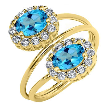 2.78 Ct American Blue Mystic Topaz 18K Yellow Gold Plated Silver Ring
