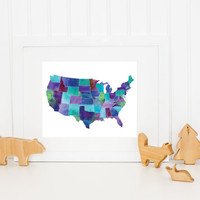 Watercolor United States Map / US Map / United States Map Print / United States Poster / Up to 13x19 / Teal, Purple, Blue, Turquoise