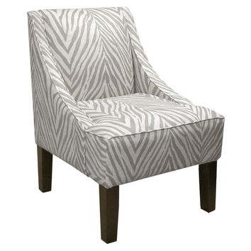 Fletcher Swoop-Arm Chair, Graphite/White, Accent & Occasional Chairs