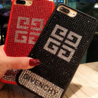 Givenchy is studded with the iphone7 iphone7 mobile phone shell 8plus female luxury big-name European and American iphone6s water drill popular logo