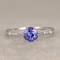 7mm Round Blue Tanzanite Engagement Ring Diamond Wedding Ring 14K White Gold Curved loop