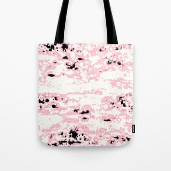 Lava Pattern Abstract Rosé and White Tote Bag by GittaG74