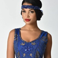 Unique Vintage 1920s Royal Blue Beaded Ribbon Flapper Headband