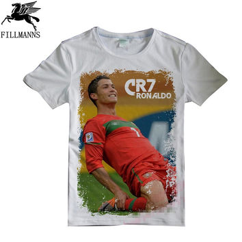 Tee Short Sleeve Men T-Shirt CR7 Cristiano Ronaldo Man's Custom t-shirts Design 2016 Male T shirt Cotton plus size shirts