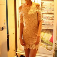 White Slash Collar Lace Dress