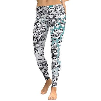 Halloween Ghost Women's White & Black Slim High Waisted Elastic Printed Fitness Workout Leggings