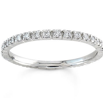 Ladies Platinum thin diamond wedding band 1/3 ctw G-VS2 diamond quality