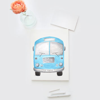 Watercolor Just Married Little Bus card, wedding, hand painted gift card, DIY printable, Watercolour Blue Bus greeting card, blank card, 8x5